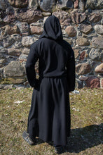 Load image into Gallery viewer, Black Mens Medieval Robe Grim Reaper Costume Hooded Monk Robe for Adults