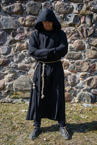 Black Mens Medieval Robe Grim Reaper Costume Hooded Monk Robe for Adults