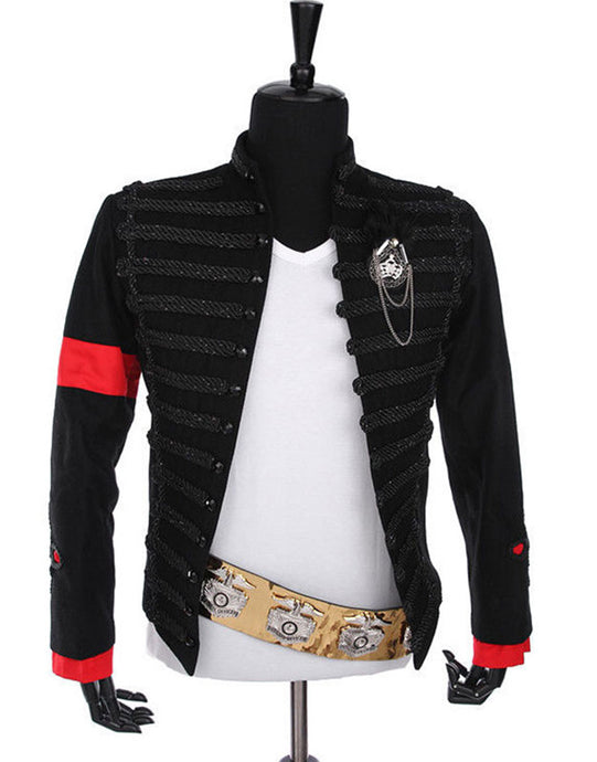 Michael Jackson Cosplay Award Ceremony Hussar Costume Black Jacket