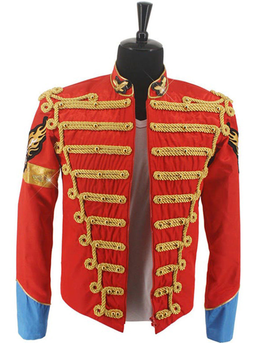 Michael Jackson Costume Red British Army Jacket for Men/Women/Kids