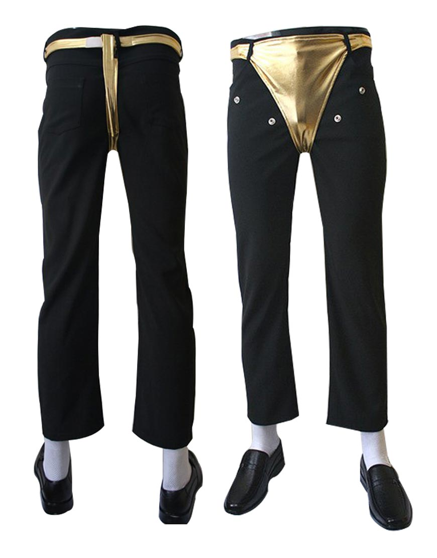 Michael Jackson Dangerous Tour Pants Black Golden Trouser