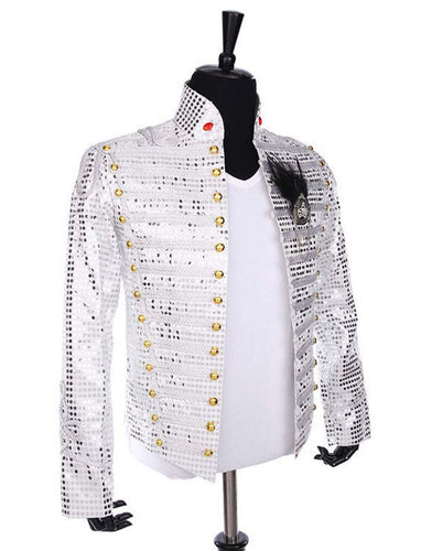 Michael Jackson History Tour Outfit White Sequin Jacket for Man/Women/Kids