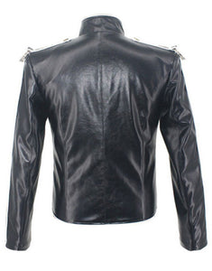 Michael Jackson Jacket Classic V8 Punk Moto Skinny Leather Black Costume