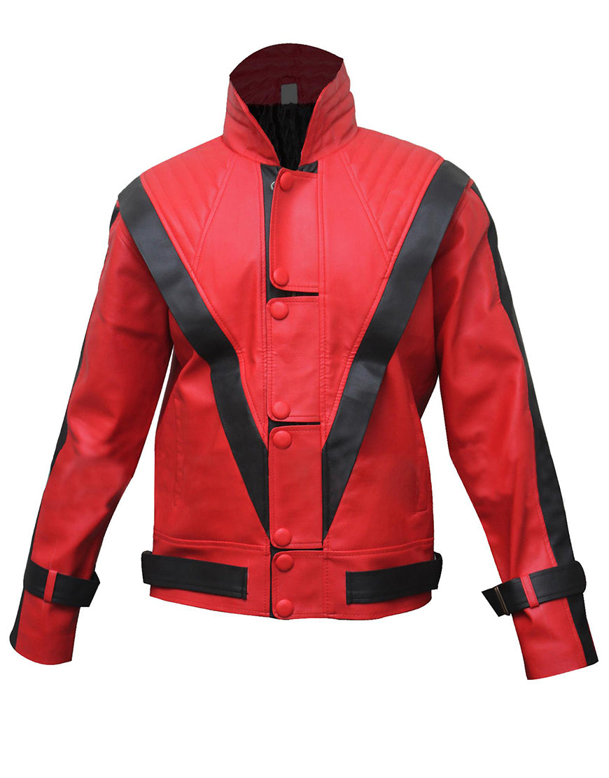 Michael Jackson's Red Thriller Jacket Leather Outfit for Male, Female, Kids
