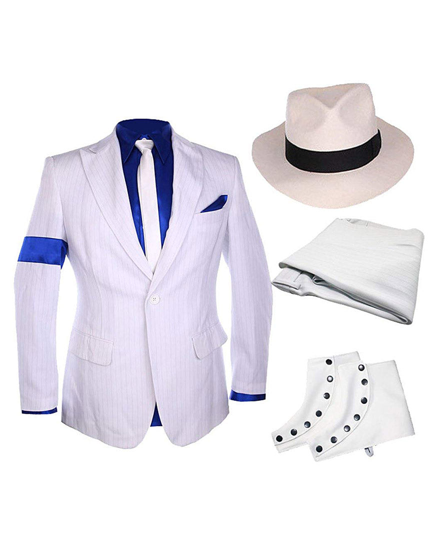 Michael Jackson Costume Smooth Criminal White Suit Outfits Uniform Fashion Male