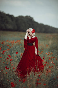 Renaissance Red Gothic Dress Wedding Dress with Corset
