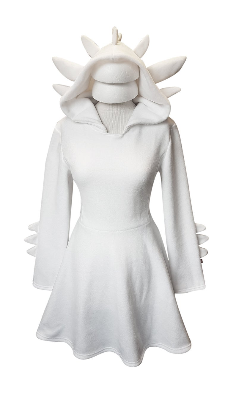 White Dragon Cosplay Costume Hoodie with Dragon Tail