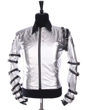 Load image into Gallery viewer, Michael Jackson Bad Tour Jacket Grey Silver Costume for Male, Female, Kids
