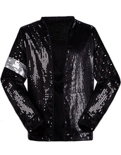 Load image into Gallery viewer, Michael Jackson Billie Jean Jacket Black Sequin Costume for Adult, Kids