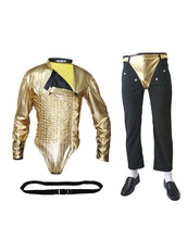 Load image into Gallery viewer, Michael Jackson Dangerous Tour Outfit Golden Bodysuit Costume