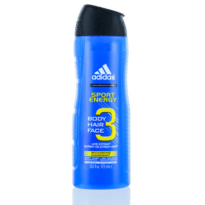 Adidas Sport Energy Coty Hair, Body & Face Gel 16.1 z (473 ml) For Men