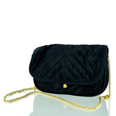 Caron Black Shoulder Bag With Gold Chain