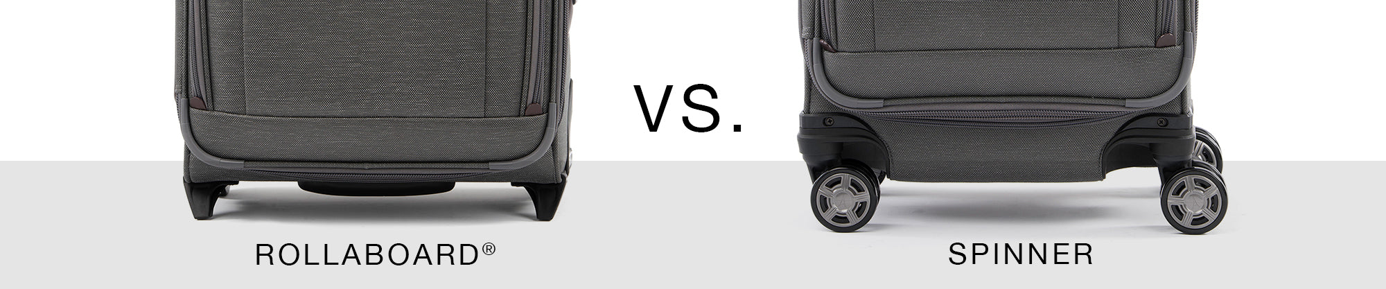 Rollaboard vs. Spinner Luggage comparison highlighting rollaboard suitcase next to spinner suitcase