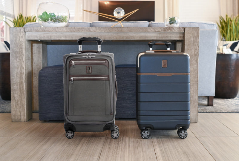 two pieces of luggage sitting side by side featuring a hardshell suitcase and a soft sided suitcase