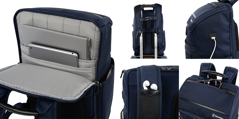 Crew executive choice 3 medium and large backpack features: built-in USB A and C ports, sunglass pocket, earbud storage, laptop/tablet pockets