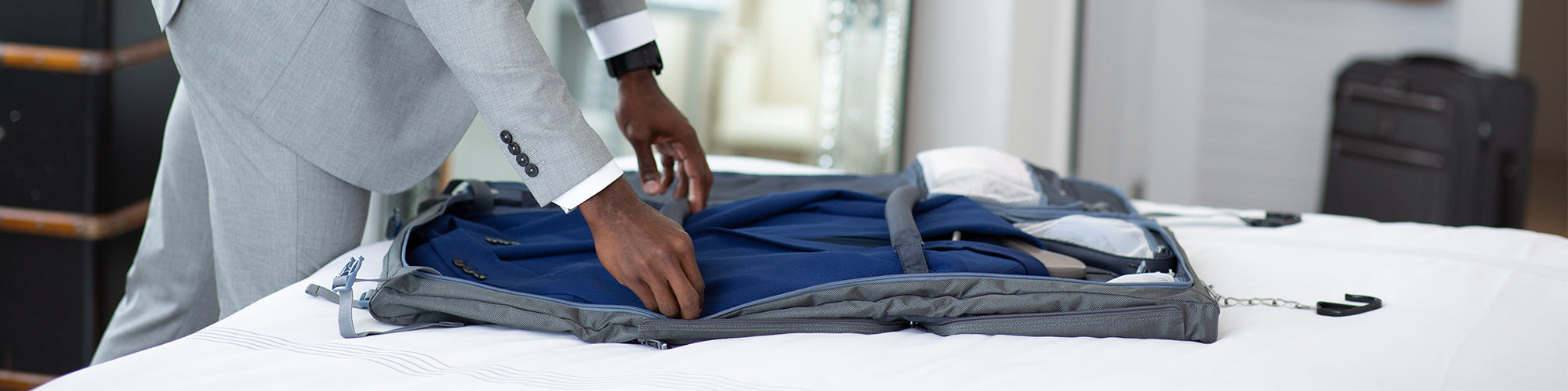 Garment Bag opened with suiter
