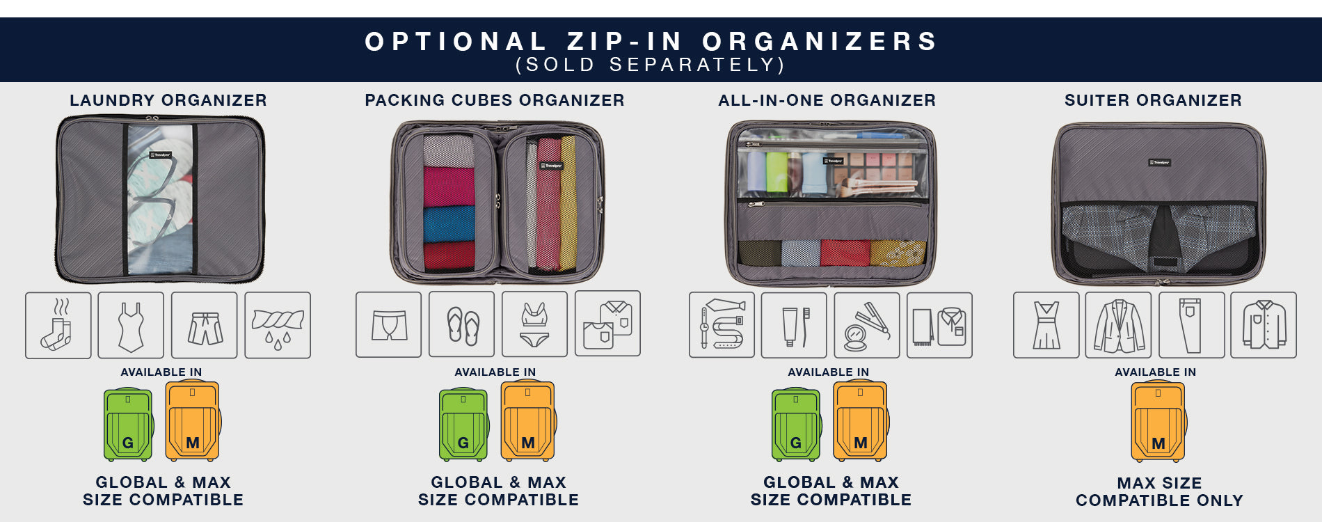 Image of all Travelpro® VeraPack Organizers