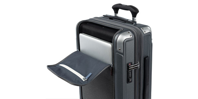 Exterior front pocket for laptop and other electronics for hardside luggage