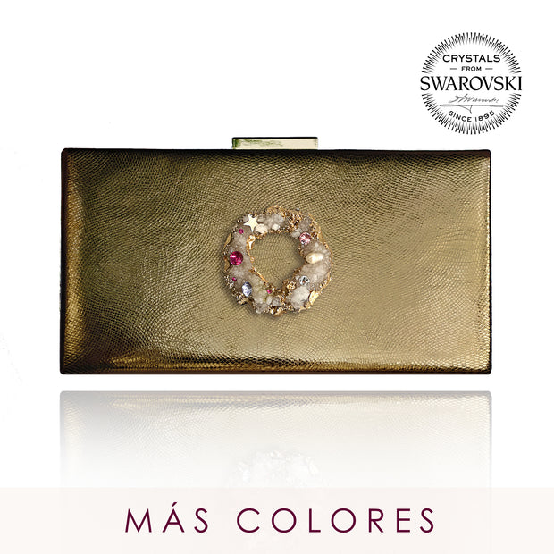 Cartera Lacerta efecto metal