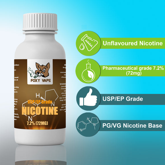 Nicotine 7.2% (72MG) EP/USP Grade 100 ML