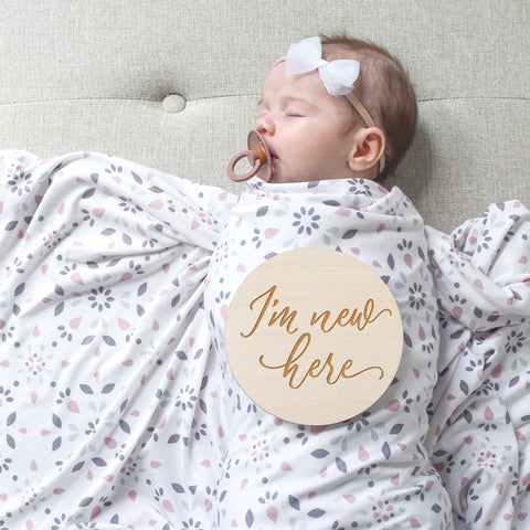 village baby blog I'm new here wood sign birth announcement photo