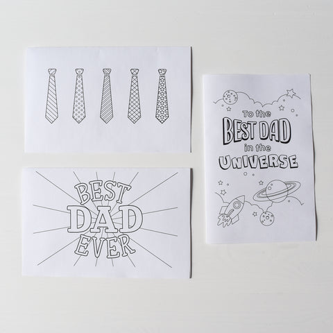 Free fathers day gift idea kids coloring page card village baby printable best dad ever