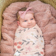 Extra Soft Stretchy Knit Swaddle Blanket: Peach Posey