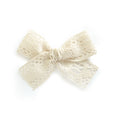 Cream Ivory Lace village baby and little girl bow clip