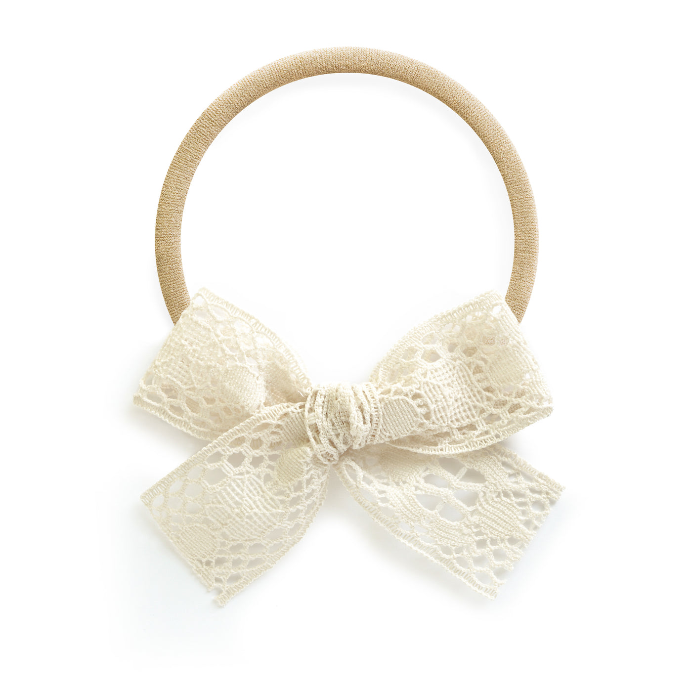 Cream Ivory Lace village baby and little girl bow stretch nylon headband newborn infant toddler