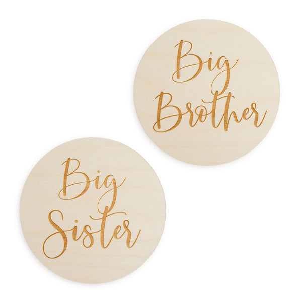 village baby big brother and big sister engraved wood signs