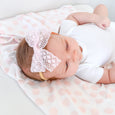lace bow on baby toddler girl gift shower accessories headband clip swaddle polka dots
