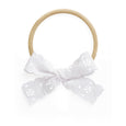 Village Baby White Lace Charlotte Bow stretch headband newborn