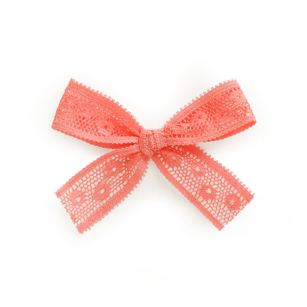 village baby Chloe coral orange pink peach lace bow for babies and big girls