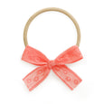 Chloe coral color lace baby headband stretchy soft delicate