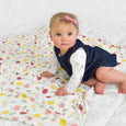 Extra Soft Stretchy Knit Swaddle Blanket: Playful Poppies