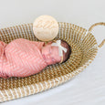 baby hello world sign with desert dots swaddle and ivory june bow headband in basket