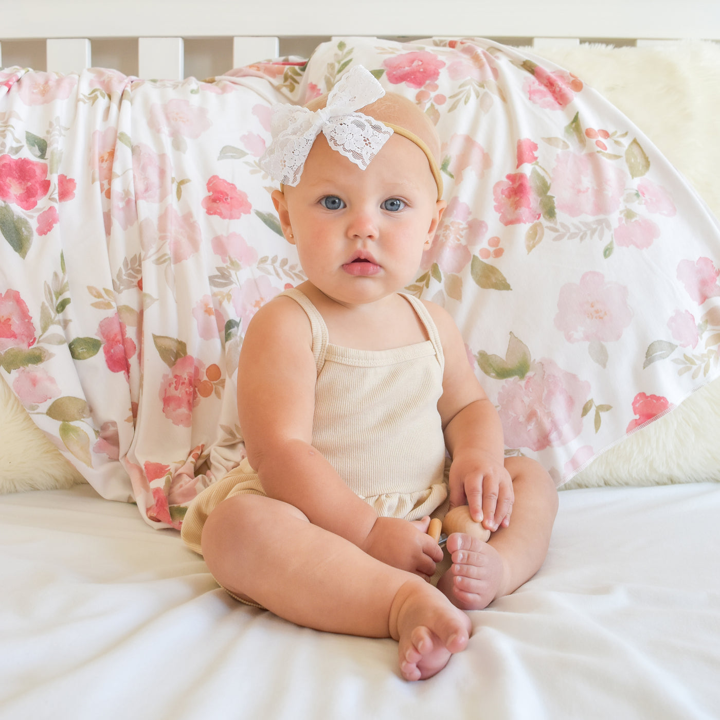 Extra Soft Stretchy Knit Swaddle Blanket: Painted Petals
