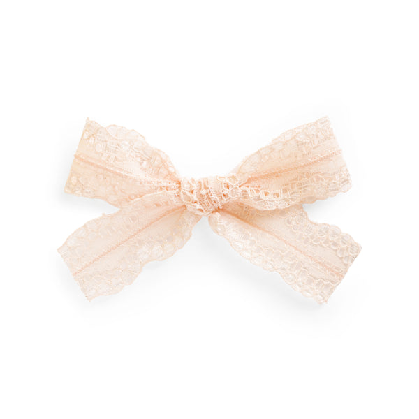 village baby peach light orange Evelyn lace bow for babies and big girls