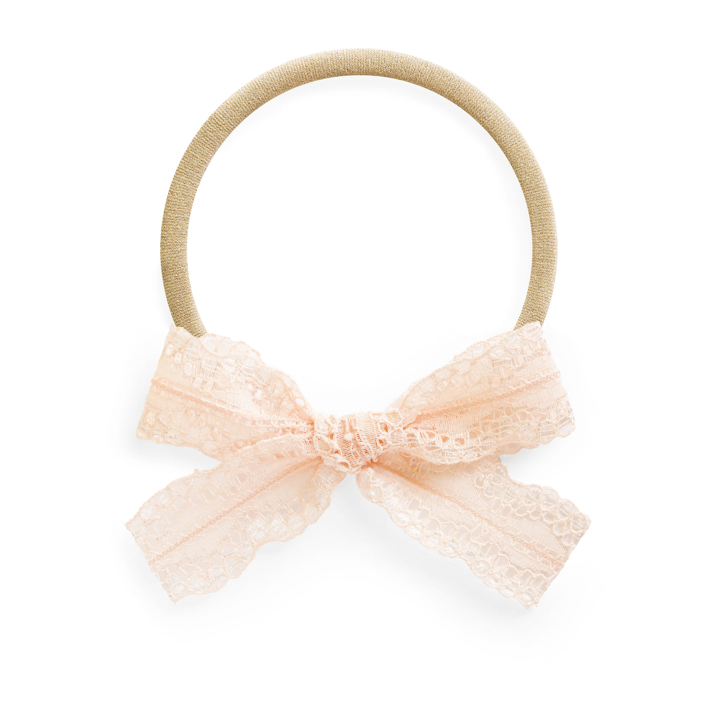 peach lace baby bow on stretchy headband