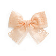 village baby harper bow light peach lace clip headband