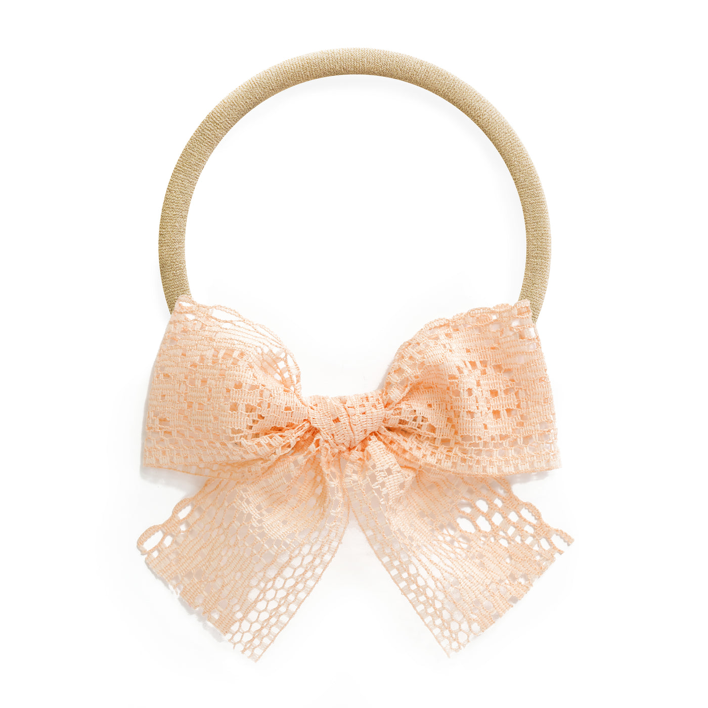 harper village baby stretchy headband with light orange peach blush lace bow