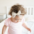 Cream ivory off white Lace headband with bow on little girl
