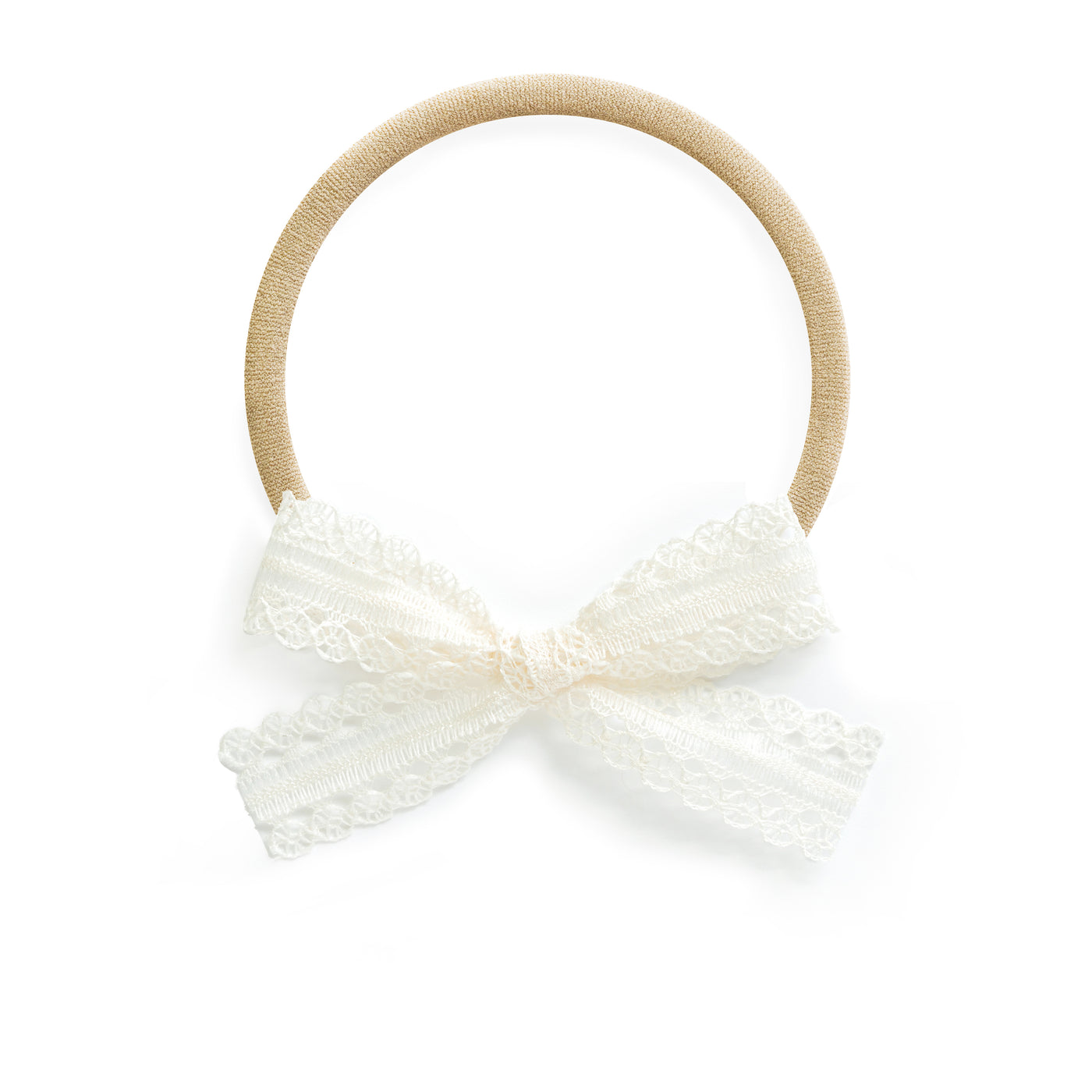 stretchy one size fits all baby bow headband white lace gift