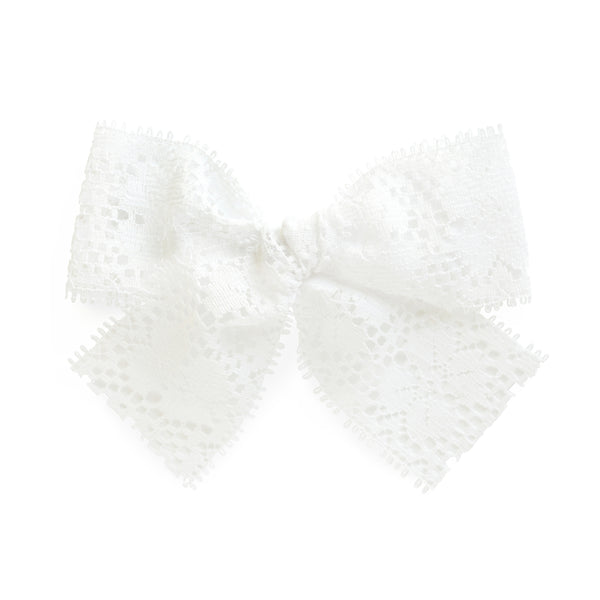 White lace baby bow little girl hair clip village baby