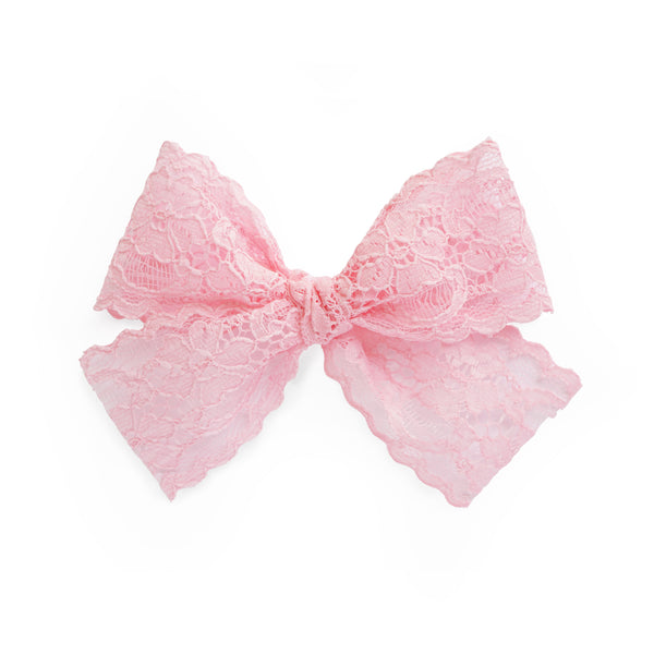 village baby pink lace Lucy bow for big girls and babies