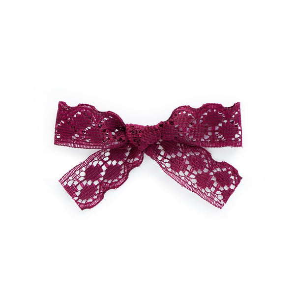 lace burgundy bow village baby clip