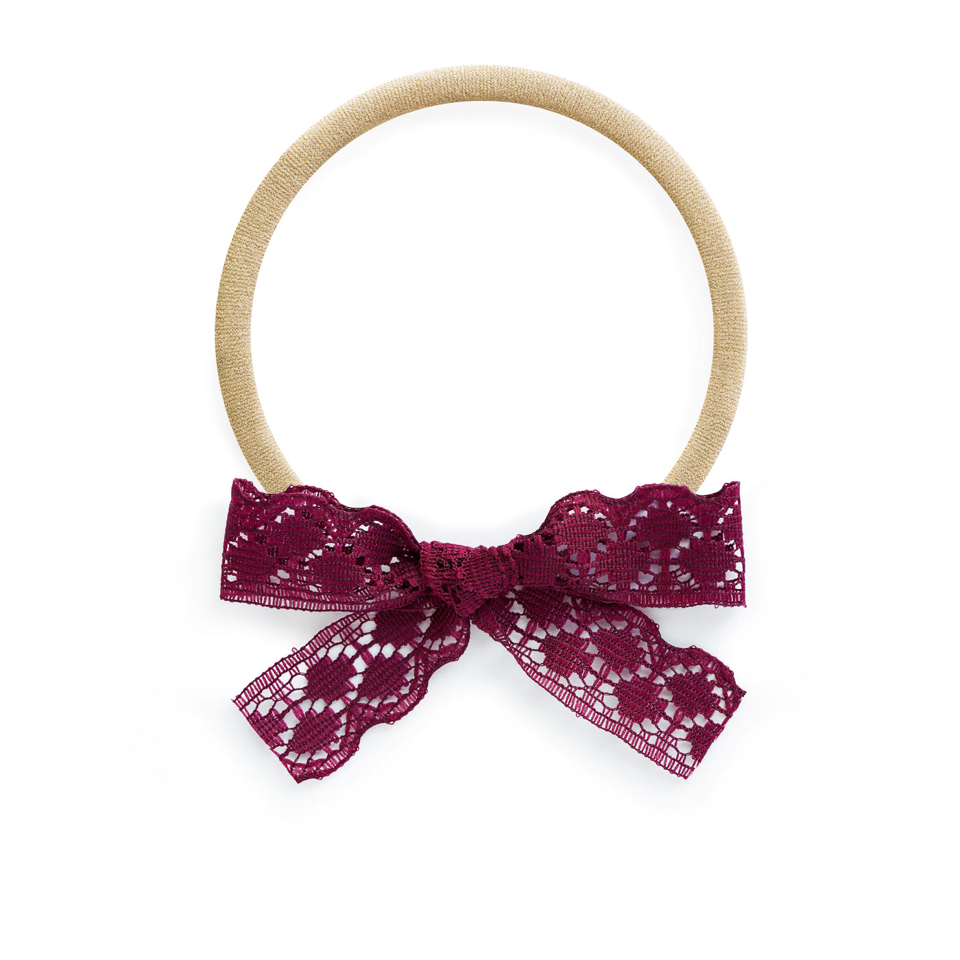 village baby lace penelope bow deep pink maroon burgundy pretty accessory baby headband stretchy