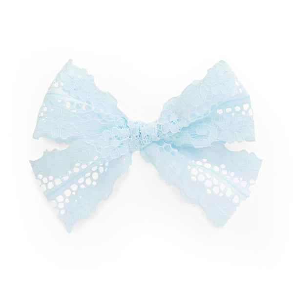 village baby light blue lace Reese bow for babies and big girls