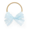 stretchy nylon headband for babies in light blue sky blue lace