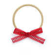 village baby headband bow bows red lace stretchy one size newborn one year old